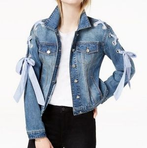 Denim Jacket With Lace-Up Ribbon Detail